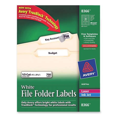 avery file labels template printer