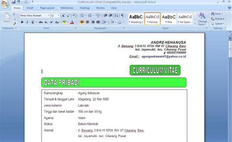 contoh kurikulum vitae contoh surat dan kebutuhan anda