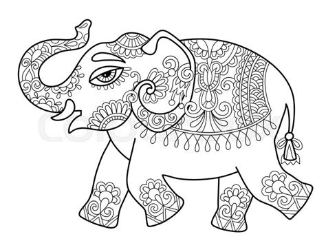 india elephant coloring page ethnic indian elephant line original drawing adults