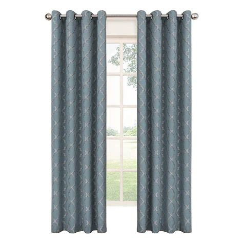 eclipse grommet blackout curtains eclipse tipton trellis blackout river blue polyester