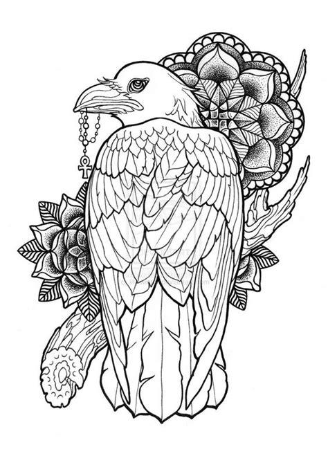 mandala eagle tattoo uncolored eagle keeping a cross with mandala flowers and