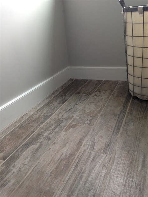wood look tile next to hardwood