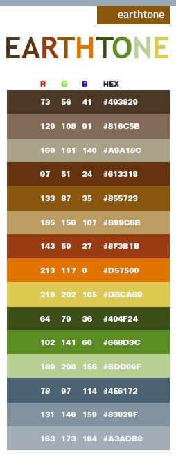 earth tone schlafzimmer earth tone color schemes with rgb and hex color values