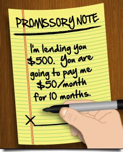 Sample promissory note for loans to family, friends   CreditCards.com