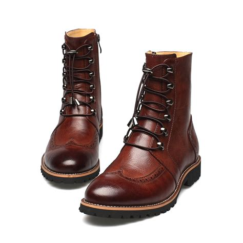stylish mens leather boots new arrival fashion bullock shoes handmade warm