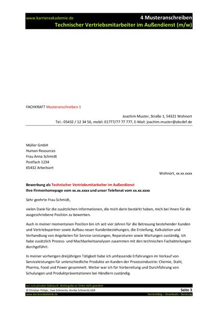 Initiativbewerbung Anschreiben Chemiker 4 x anschreiben technischer vertriebsmitarbeiter m w