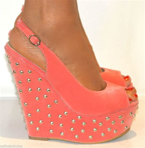 coral peep toe studded wedge high from pathelschoice on