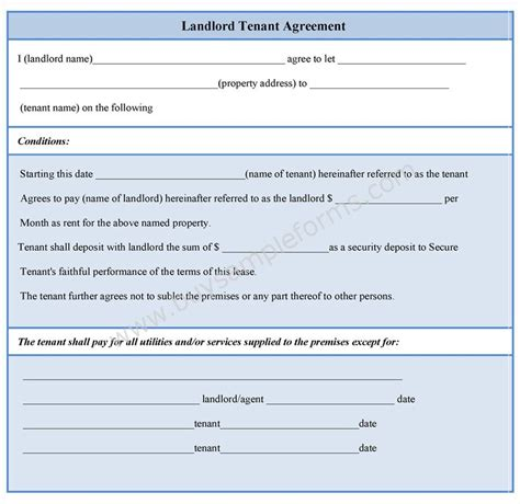 landlord tenant lease agreement template landlord tenant agreement form sle forms