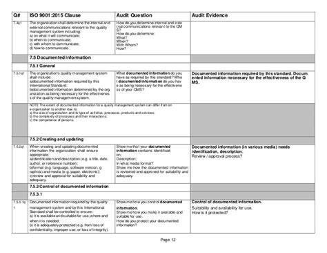 Iso 14001 2015 Checklist Iso 14001 2015 Template Free