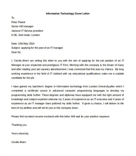 Informatics Cover Letter by Information Technology Cover Letter Sle Doc Docoments Ojazlink