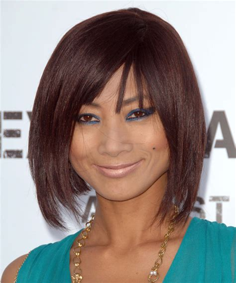 Bai Ling Medium Straight Casual Hairstyle with Blunt Cut