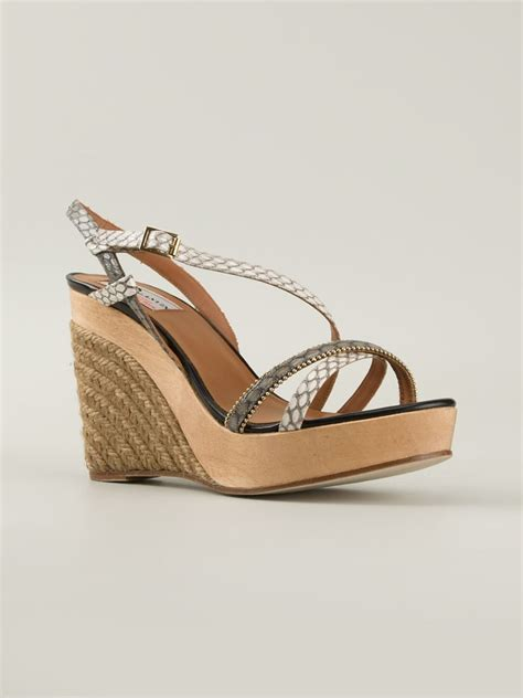 lanvin strappy wedge sandals in multicolor white lyst