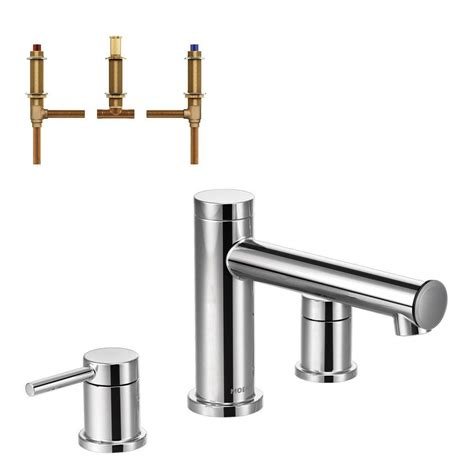 Tub Faucet by Moen Align 2 Handle Deck Mount Tub Faucet Trim Kit With Valve In Chrome T393 4792 The