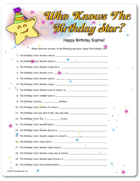printable games for sweet 16 party printable who knows the birthday star 90th birthday