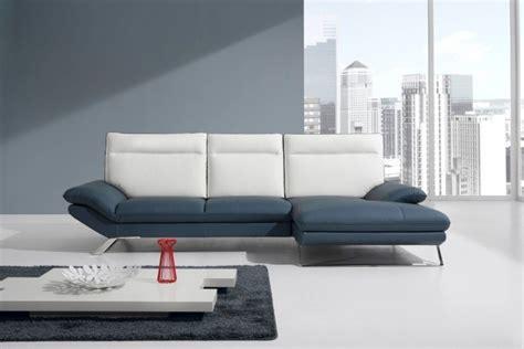 blue italian leather sofa divani casa 783b modern blue white italian leather