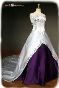 White and purple wedding dress with green embroidery by availco