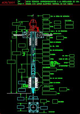 turbine pump, deep hole dwg block for autocad • designs cad