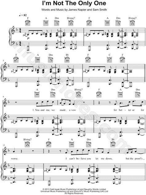 i m not the only one sheet music by sam smith piano quot i m not the only one quot by sam smith songs pinterest