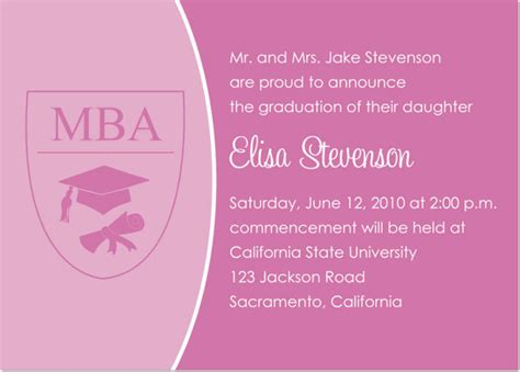 Mba Announcement by Pink Mba Graduation Invitations By Ib Designs