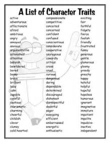 a list of character traits by mrs r teachers pay teachers