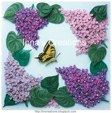 Paper Quilling Flowers - inna s creations lilac flowers and butterfly framed