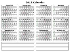 Calendar 2018 Printable With Notes 10 Free Sle Printable Calendar Templates For 2018