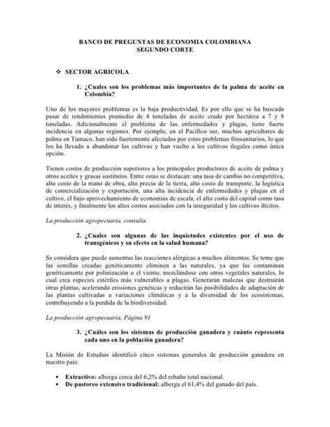 BANCO DE PREGUNTAS ECONOMIA COLOMBIANA SEGUNDO CORTE