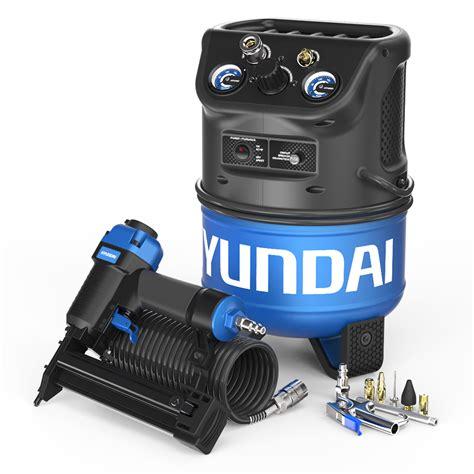 hyundai  gal portable electric air compressor  brad nailer  hose  pc kit
