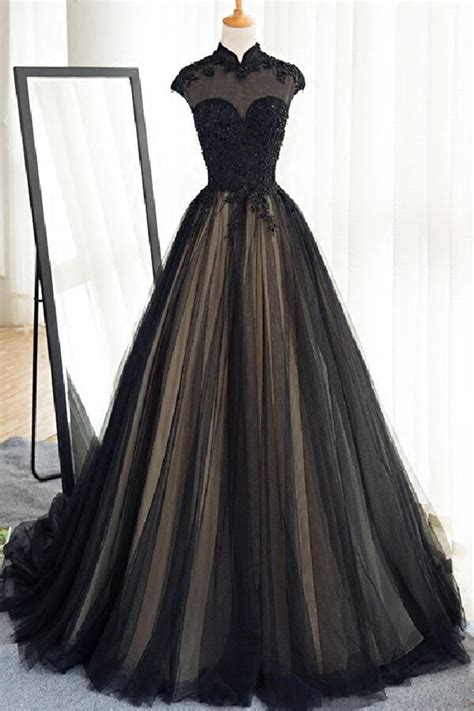 Longdress Cap black tulle cap sleeves floor length prom dresses