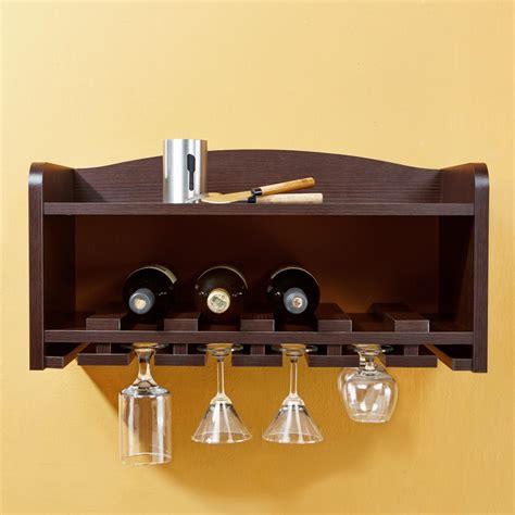 wall wine rack amazon amazon com iohomes venire wall mounted wine rack and glass holder walnut kitchen dining