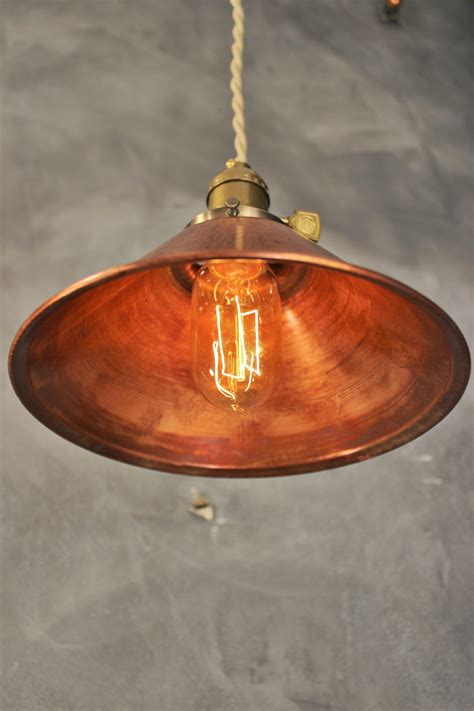 Copper Pendant Light Shades Industrial Pendant L W Weathered Copper L Shade Vintage Factory Light 183 Dw Vintage