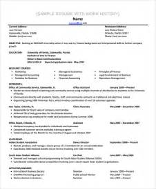 Inroads Resume Template by Sle Work History Template 9 Free Documents
