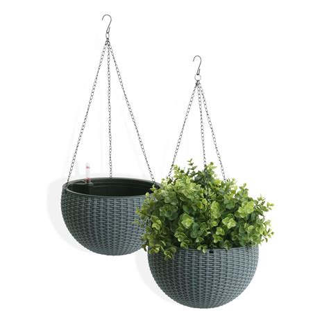 hanging planter algreen self watering wicker gray plastic hanging planter