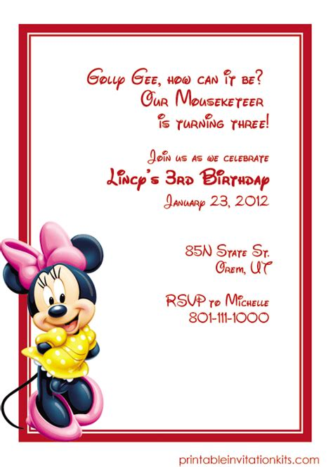 minnie mouse invitations templates free minnie mouse birthday invitation wedding invitation