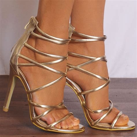 gold metallic high heel sandals womens gold metallic barely there strappy sandals
