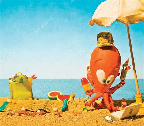 imagenes animadas vacaciones playa pulpo de arcilla de dibujos animados en la playa en