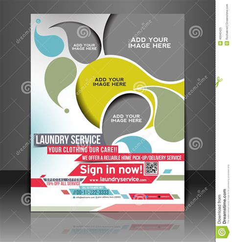 laundry design poster laundry service flyer design stock vector illustration