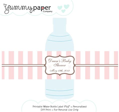 free printable water bottle label template best photos of water bottle labels baby shower water