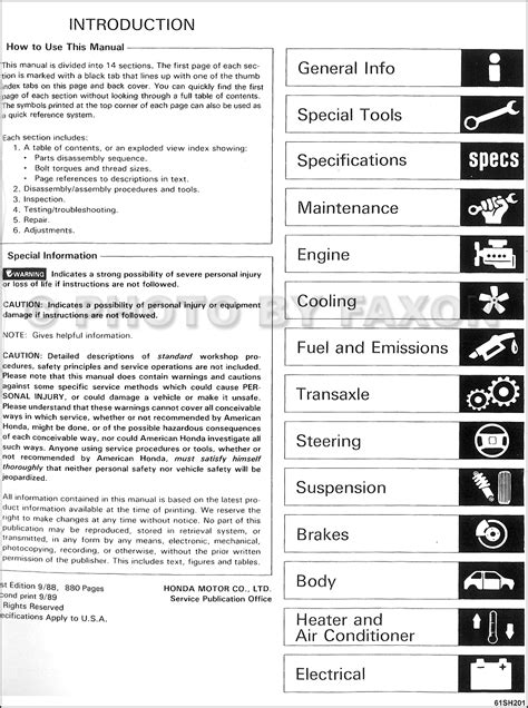 car repair manuals online pdf 1989 honda civic security system 1989 honda civic crx repair shop manual factory reprint