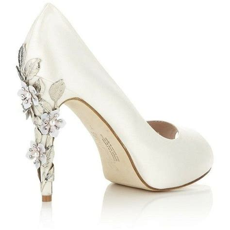 White Wedding Heels For by Simple White Wedding Shoes With A Decorative Floral Heel