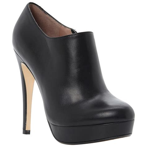 dune bavina leather platform stiletto shoe boots in black