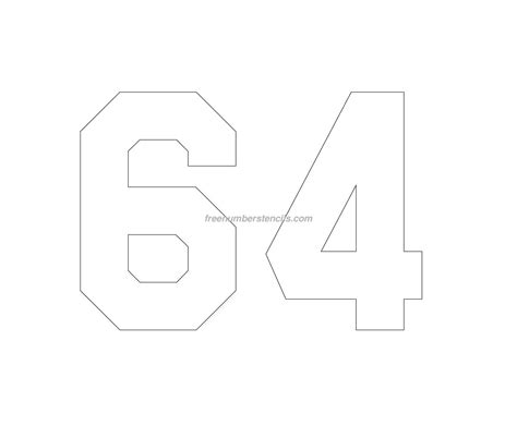 printable jersey numbers free jersey printable 64 number stencil