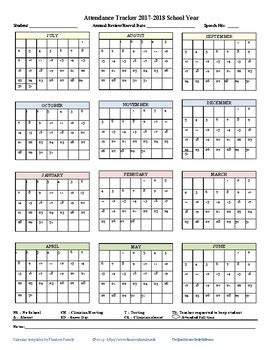 Monthly Attendance Tracker 2017 2018 By The Speech Source Tpt 2017 2018 Attendance Calendar By Keep It Speechy Tpt