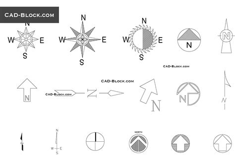 North symbol Autocad download, dwg Blocks