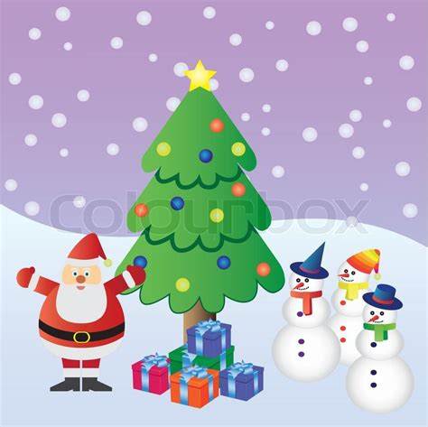 pictures of crismas tree and centaclaus santa claus with presents near tree and three snowmen stock vector colourbox