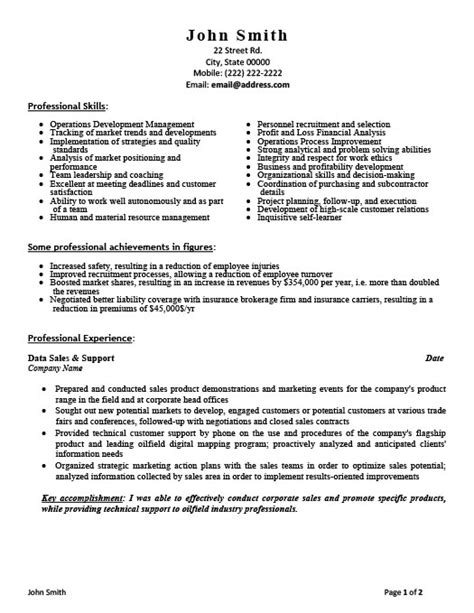 sales and support assistant resume template premium resume sles exle