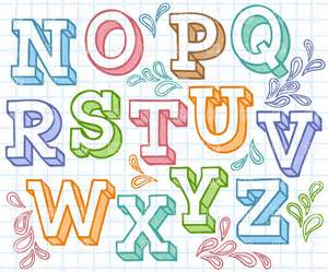 colorful letters colorful sketchy font shaded letters on checkered paper