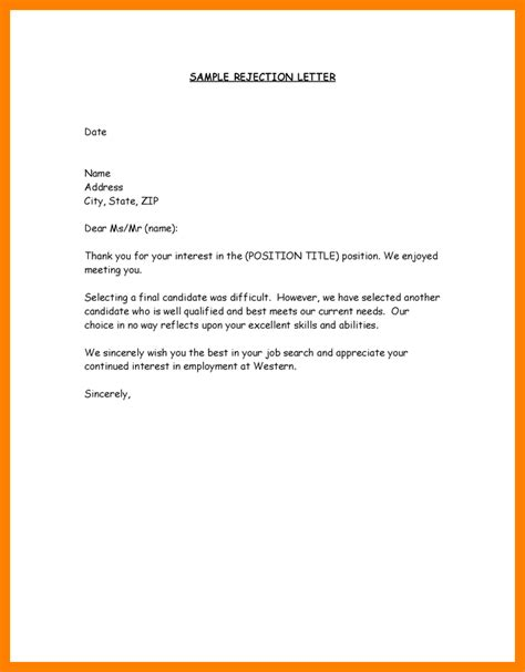 Regrets Letter For Applicants regret letter format applicant rejection letter sle