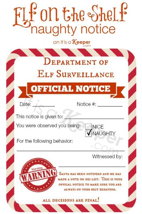 elf on the shelf naughty list warning printable free printable elf on a shelf naughty nice notices diy