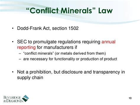 dodd frank act section 1502 environmental compliance risk and product stewardship